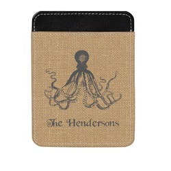 Octopus & Burlap Print Genuine Leather Money Clip (Personalized)