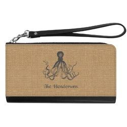 Octopus & Burlap Print Genuine Leather Smartphone Wrist Wallet (Personalized)
