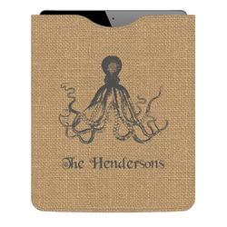 Octopus & Burlap Print Genuine Leather iPad Sleeve (Personalized)