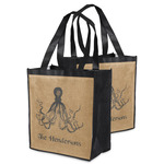 Octopus & Burlap Print Grocery Bag (Personalized)
