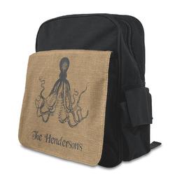 Octopus & Burlap Print Preschool Backpack (Personalized)