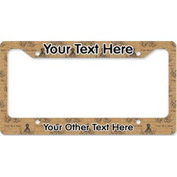 Octopus & Burlap Print License Plate Frame (Personalized)