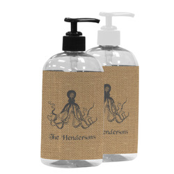 Octopus & Burlap Print Plastic Soap / Lotion Dispenser (Personalized)