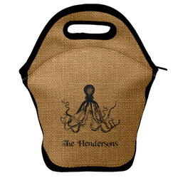 Octopus & Burlap Print Lunch Bag w/ Name or Text