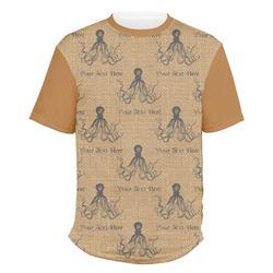Octopus & Burlap Print Men's Crew T-Shirt (Personalized)