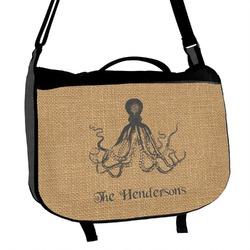 Octopus & Burlap Print Messenger Bag (Personalized)