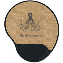 Octopus & Burlap Print Mouse Pad with Wrist Support