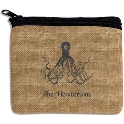 Octopus & Burlap Print Rectangular Coin Purse (Personalized)