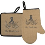 Octopus & Burlap Print Oven Mitt & Pot Holder (Personalized)
