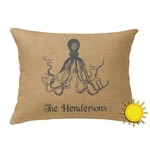 Octopus & Burlap Print Outdoor Throw Pillow (Rectangular) (Personalized)