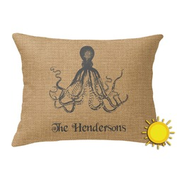 Octopus & Burlap Print Outdoor Throw Pillow (Rectangular) (Personalized)