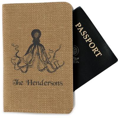 Octopus & Burlap Print Passport Holder - Fabric (Personalized)