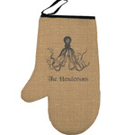 Octopus & Burlap Print Left Oven Mitt (Personalized)
