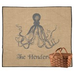 Octopus & Burlap Print Outdoor Picnic Blanket (Personalized)
