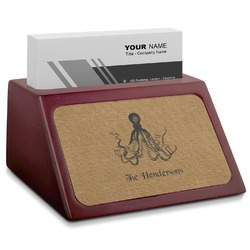 Octopus & Burlap Print Red Mahogany Business Card Holder (Personalized)