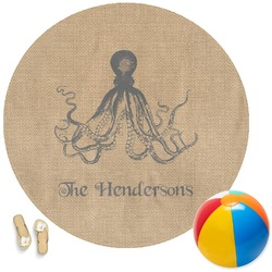 Octopus & Burlap Print Round Beach Towel (Personalized)