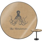 Octopus & Burlap Print Round Table (Personalized)