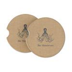 Octopus & Burlap Print Sandstone Car Coasters (Personalized)