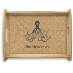 Octopus & Burlap Print Natural Wooden Tray - Large (Personalized)