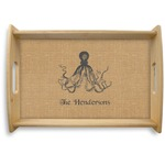 Octopus & Burlap Print Natural Wooden Tray (Personalized)