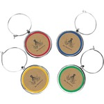 Octopus & Burlap Print Wine Charms (Set of 4) (Personalized)