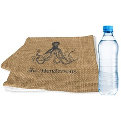 Octopus & Burlap Print Sports Towel (Personalized)