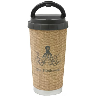 Octopus & Burlap Print Stainless Steel Coffee Tumbler (Personalized)