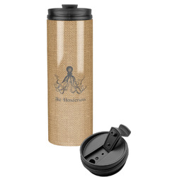 Octopus & Burlap Print Stainless Steel Tumbler (Personalized)