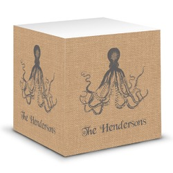 Octopus & Burlap Print Sticky Note Cube (Personalized)