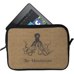 Octopus & Burlap Print Tablet Case / Sleeve (Personalized)