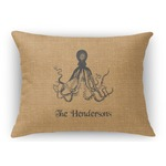 Octopus & Burlap Print Rectangular Throw Pillow Case (Personalized)