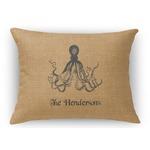 Octopus & Burlap Print Rectangular Throw Pillow Case (Personalized)