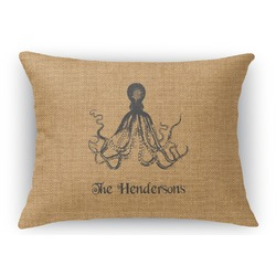 Octopus & Burlap Print Rectangular Throw Pillow (Personalized)
