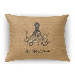 """Octopus & Burlap Print Rectangular Throw Pillow - 18""""x24"""" (Personalized)"""