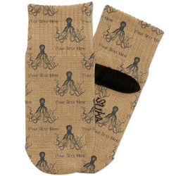 Octopus & Burlap Print Toddler Ankle Socks (Personalized)