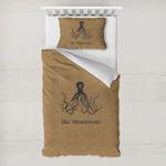 Octopus & Burlap Print Toddler Bedding w/ Name or Text