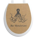 Octopus & Burlap Print Toilet Seat Decal (Personalized)
