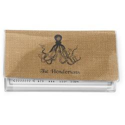 Octopus & Burlap Print Vinyl Checkbook Cover (Personalized)