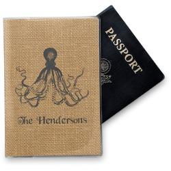 Octopus & Burlap Print Vinyl Passport Holder (Personalized)