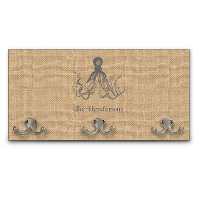 Octopus burlap print wall mounted coat rack personalized youcustomizeit - Coat hook octopus ...