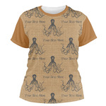 Octopus & Burlap Print Women's Crew T-Shirt (Personalized)