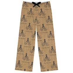 Octopus & Burlap Print Womens Pajama Pants (Personalized)