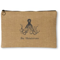 Octopus & Burlap Print Zipper Pouch (Personalized)