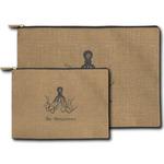 Octopus & Burlap Print Zipper Pouch (Personalized)