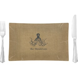 Octopus & Burlap Print Glass Rectangular Lunch / Dinner Plate - Single or Set (Personalized)