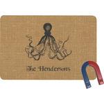 Octopus & Burlap Print Rectangular Fridge Magnet (Personalized)