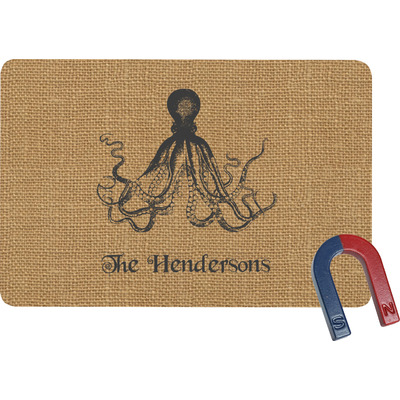 Octopus & Burlap Print Rectangular Fridge Magnet (Personalized)