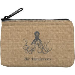 Octopus & Burlap Print Rectangular Coin Purse (Personalized)