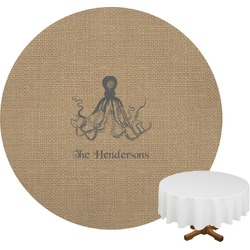 Octopus & Burlap Print Round Tablecloth (Personalized)