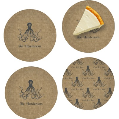 "Octopus & Burlap Print Set of 4 Glass Appetizer / Dessert Plate 8"" (Personalized)"